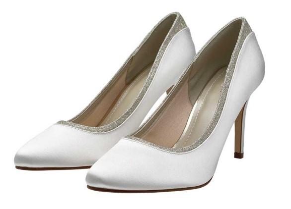 BILLIE - Ivory shimmer court shoes £79