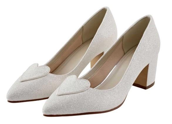 BIRDY - Ivory shimmer heart detail block heel shoe £89