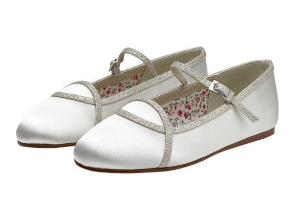 RAINBOW CLUB - ORLANA - Silver shimmer ivory ballet shoe