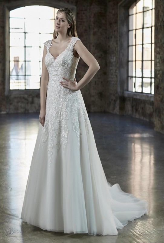 Cascading lace princess gown with sequins, lace illusion straps and a key hole back