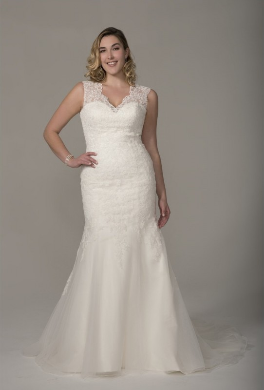 Classic fit and flare over a satin sweetheart neckline gown