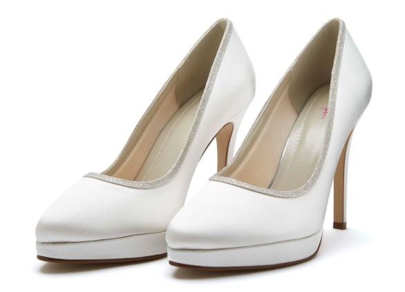 TALLULAH - Ivory satin & shimmer court shoe