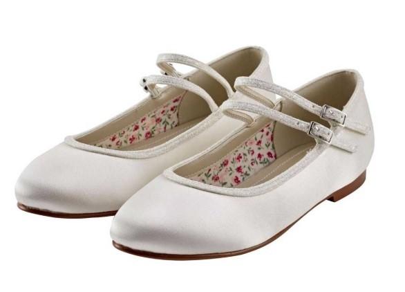 RAINBOW CLUB - MADDISON - Ivory satin shimmer shoe £33