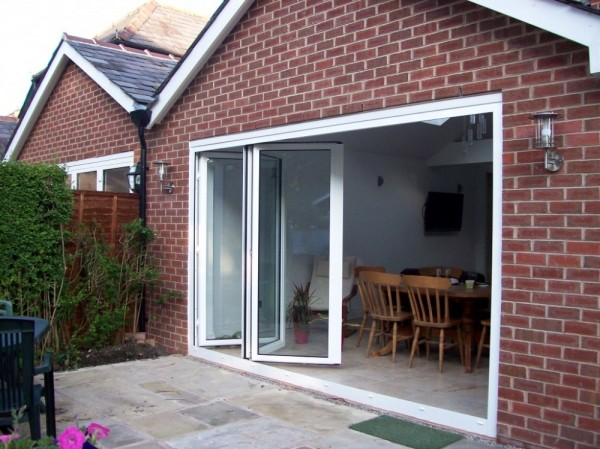 White Aluminum Bi-Folding Doors