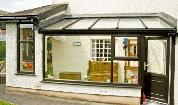 Black UPVC Windows & Glass Roof Lean-2