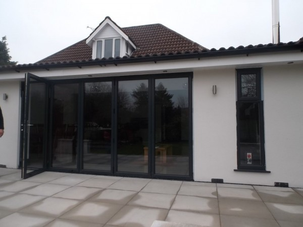Anthracite grey Aluminum Bi-folding Doors