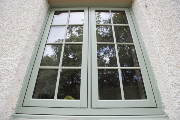 Chartwell green flush sash windows with astrical bar