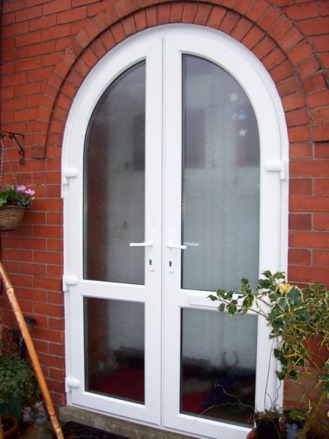 White Arched French Doors