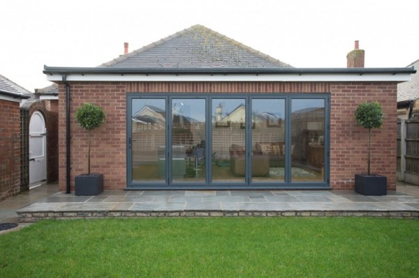 Anthracite grey aluminium bi-folding doors.