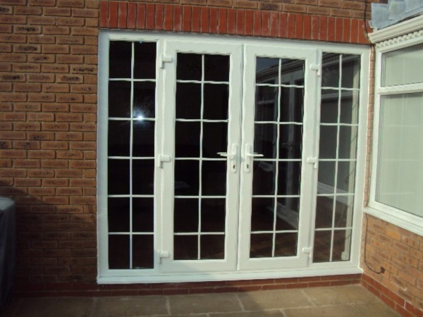 White UPVC French Doors With Sidescreens & Georgian Bar