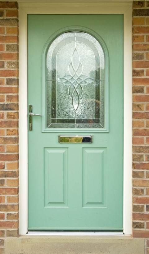 Cream UPVC frame & Chartwell Green Composite Door