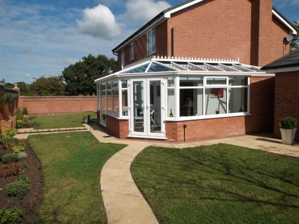 White Conservatory with High Specification Glass Roof