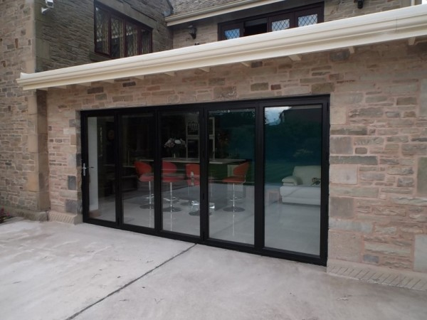 Black Aluminum Bi-folding Doors