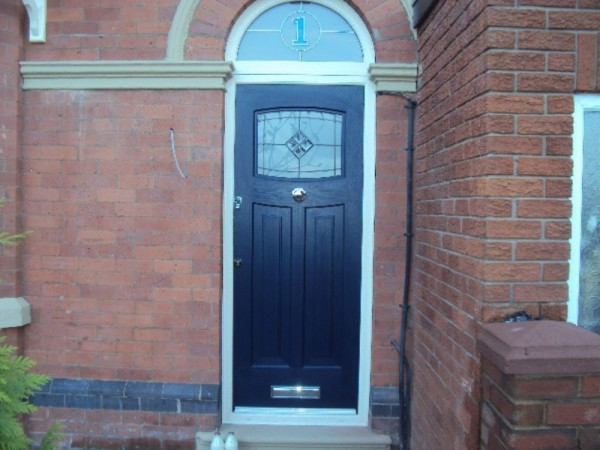 Cream Arched Frame & Blue composite Door