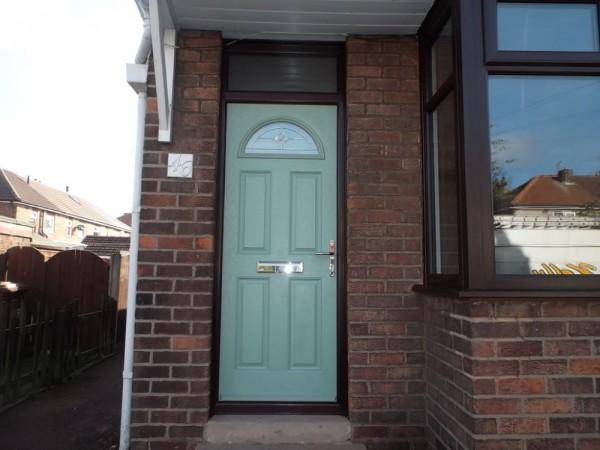 Rosewood UPVC frame & Chartwell Green Door