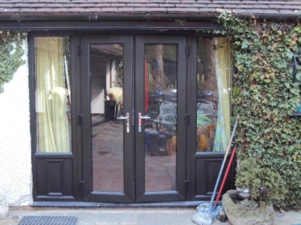 Black UPVC French Door Combination Frame