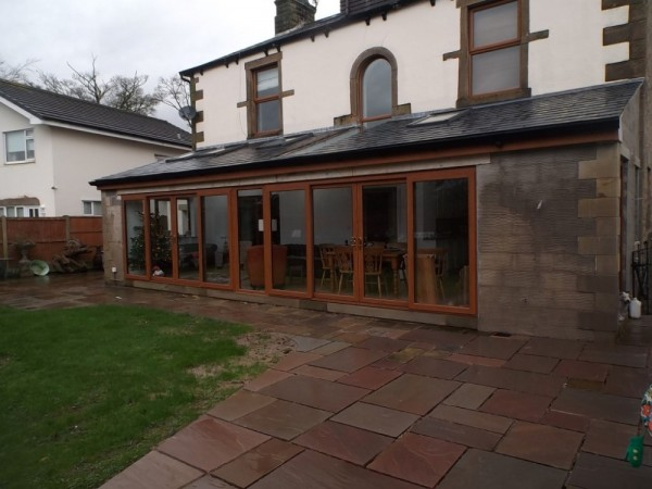 Golden Oak Sliding Patio Doors