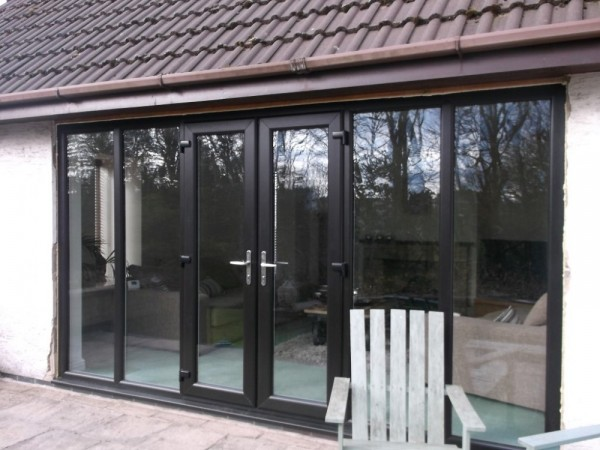 Black french combination doors UPVC