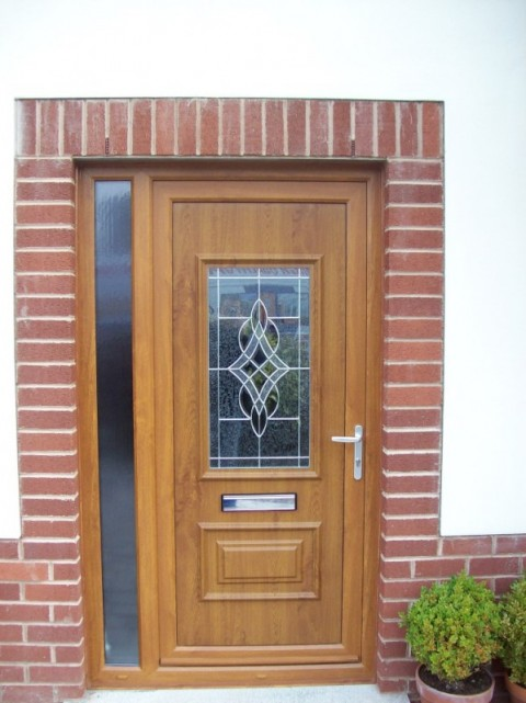 Golden oak UPVC door