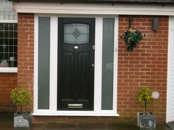 Black Rock door with white UPVC frame