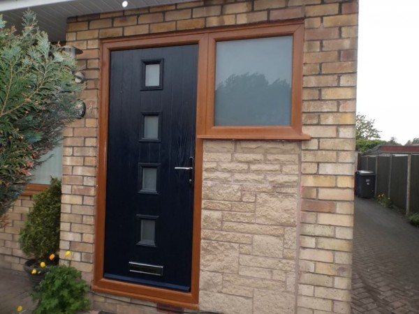 Golden Oak UPVC Frame & Black Composite Door