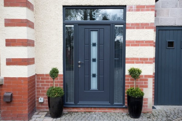 Anthracite grey combination Rock door with integral blinds to side screens