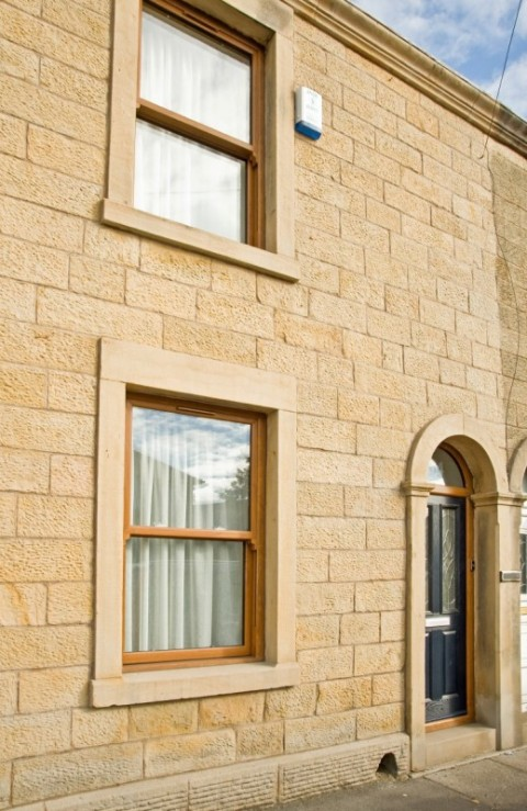 Golden oak UPVC Sliding sash Windows & Composite Door