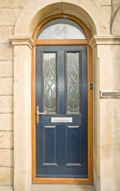 Golden Oak Arched frame & Veka blue Composite Door