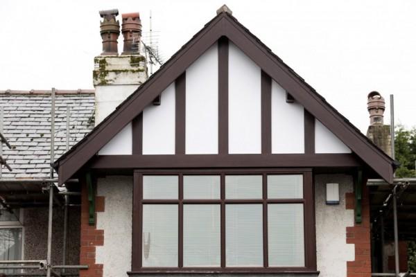 Rosewood fascias, tudor boad & white backing panels