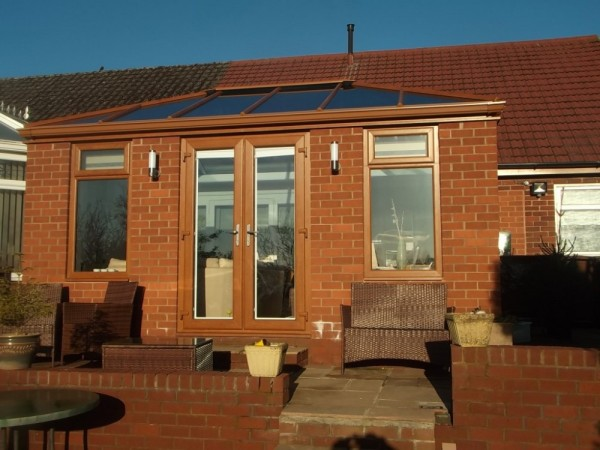 Golden Oak Orangery With Glass Roof