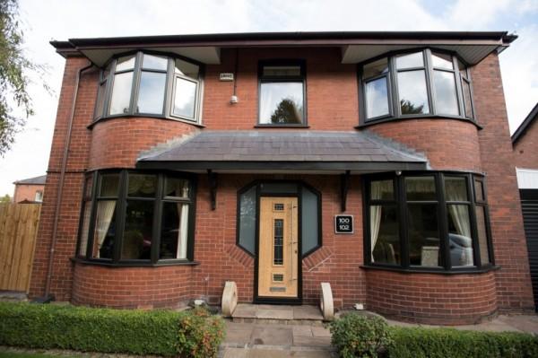 Black UPVC windows & irish oak composite door