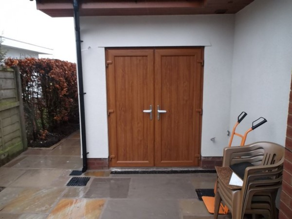 Golden Oak UPVC French Doors with T&G Panels