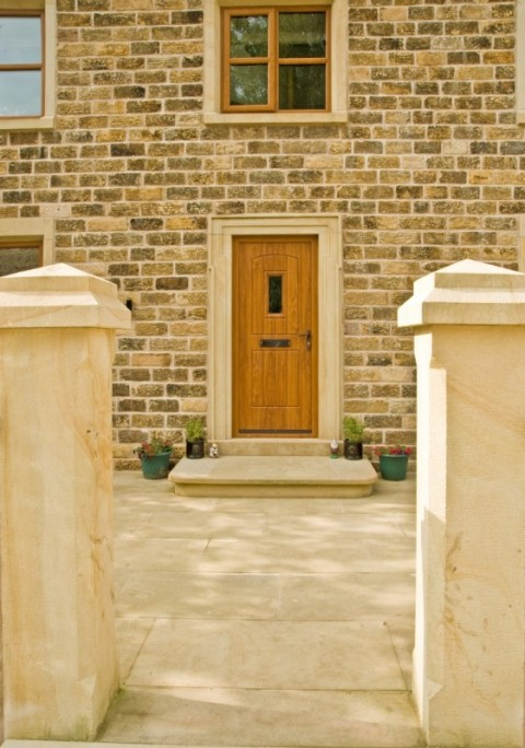 golden Oak Rock Door