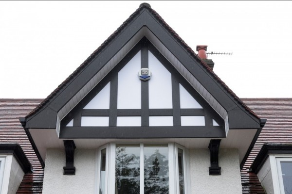 Black UPVC fascias,Black Tudor board & White soffits