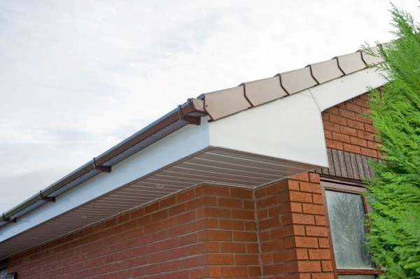 White UPVC Fascias & Soffits with Brown Dry Verge