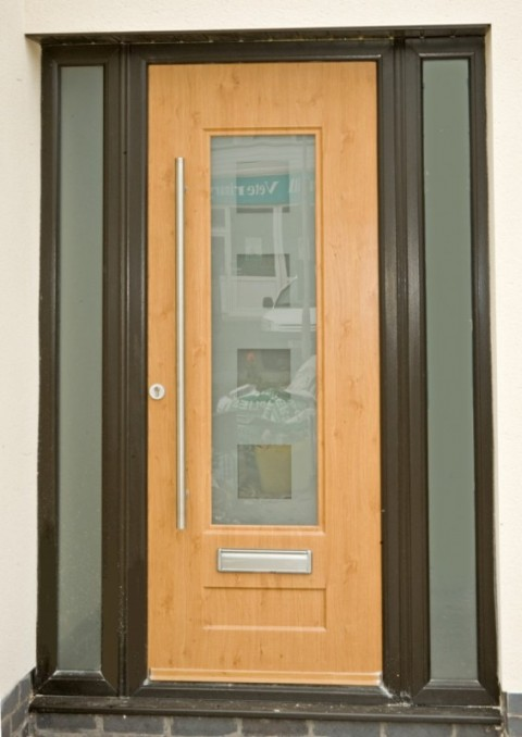 Black UPVC Frame & Irish Oak Rock Door