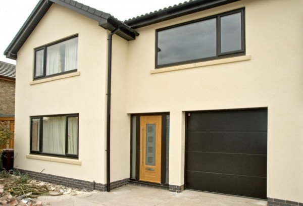 Black UPVC Windows & Irish oak Rock Door