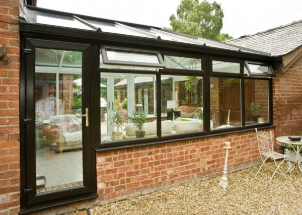 Black on White UPVC Frames & glass roof External View Georgian