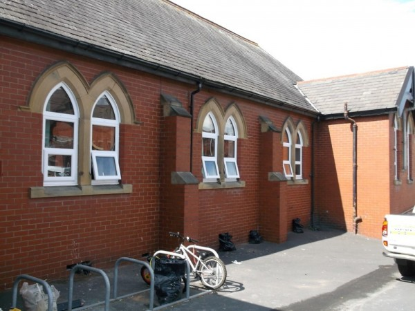 White UPVC Arched Frames (School Blackpool)