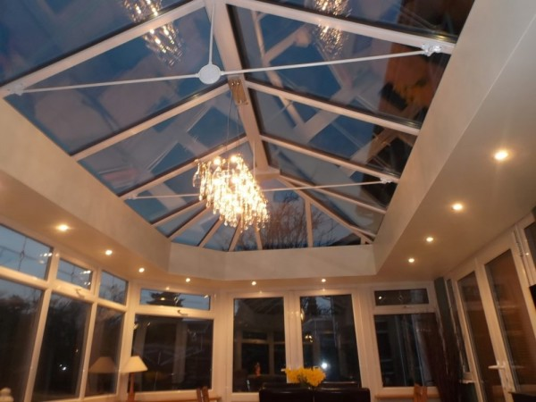 High specification glass roof Upgrade with internal plasterboard shelf & Downlighters