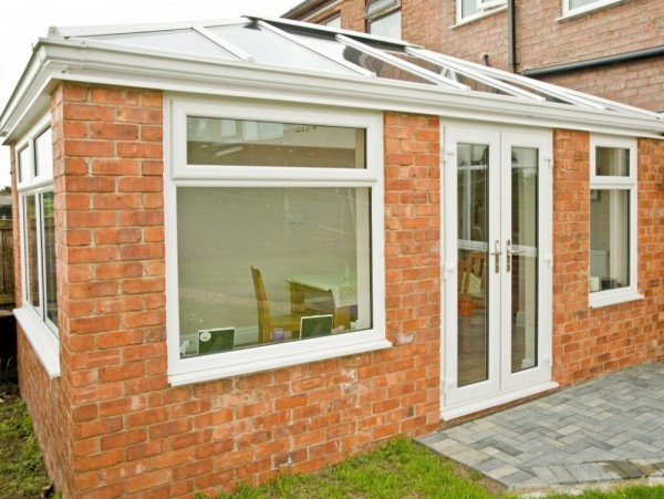 White UPVC Frames With Glass Roof Orangery