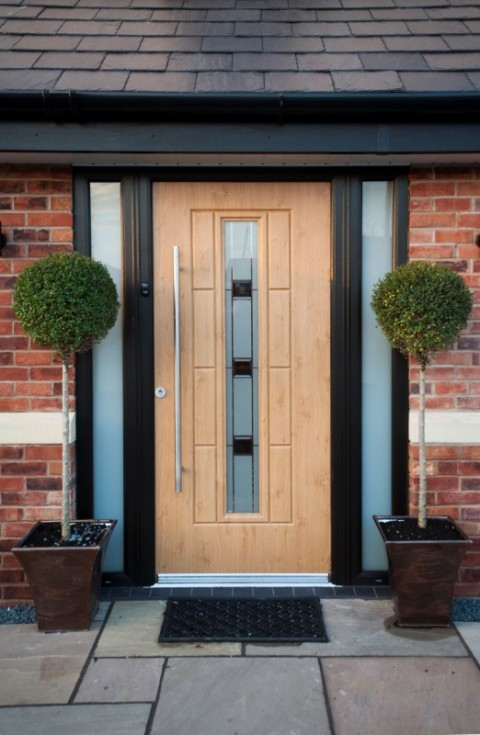 Black UPVC Combination Frame With Irish Oak Rock Door