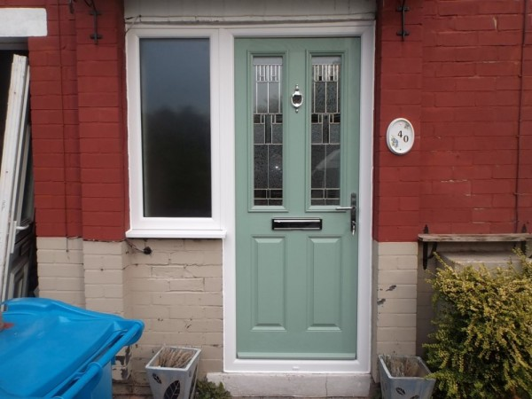 White UPVC frames & Chartwell Green Door