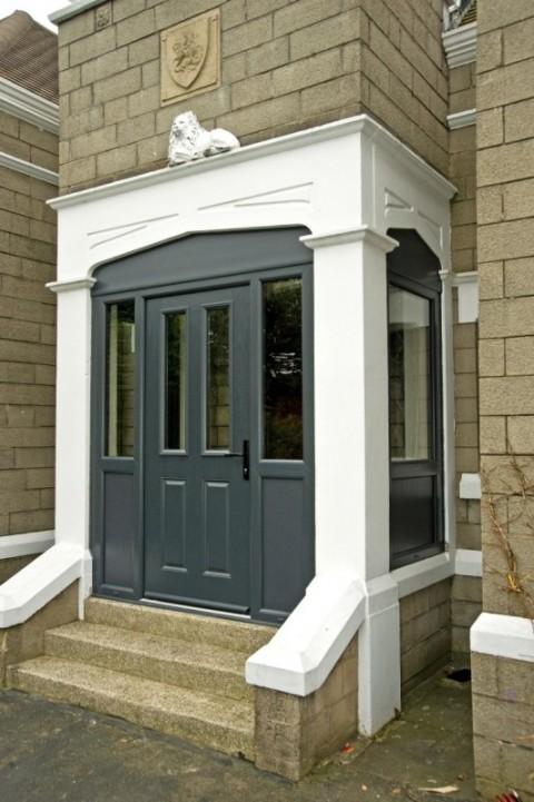 Grey Composite Door With Shaped Top