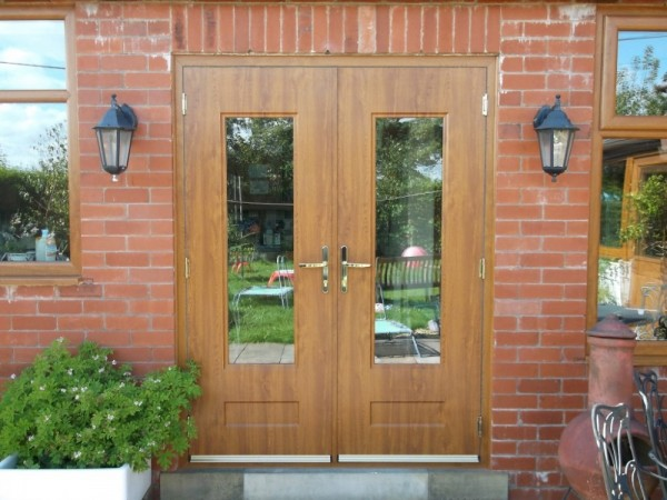 Golden Oak Rock French Doors