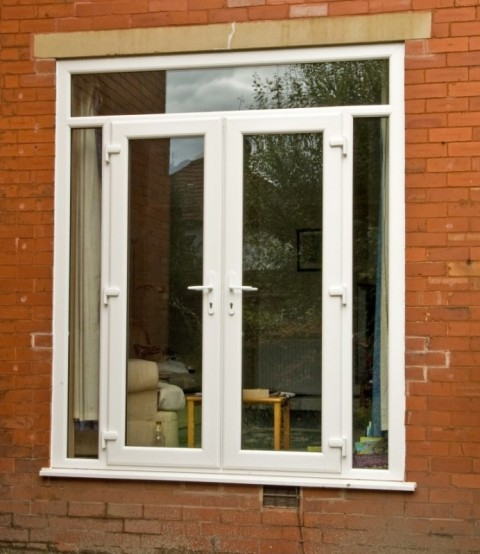 White UPVC French Door Combination