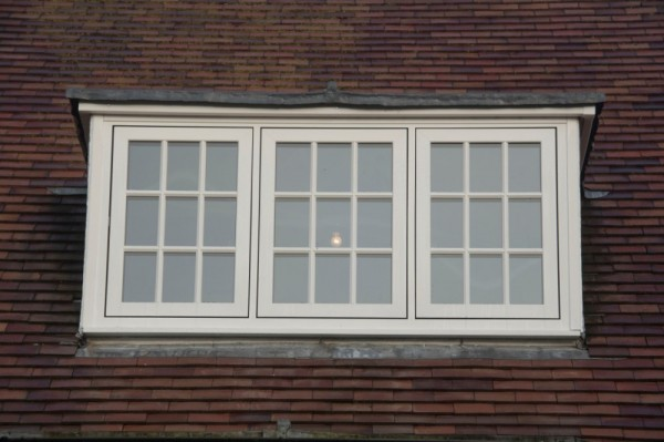 White flush sash  window with astrical bar