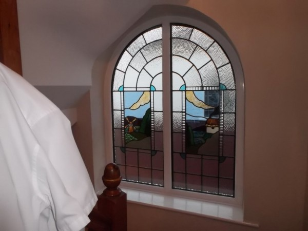 White UPVC Arched frame with encapsulated glass