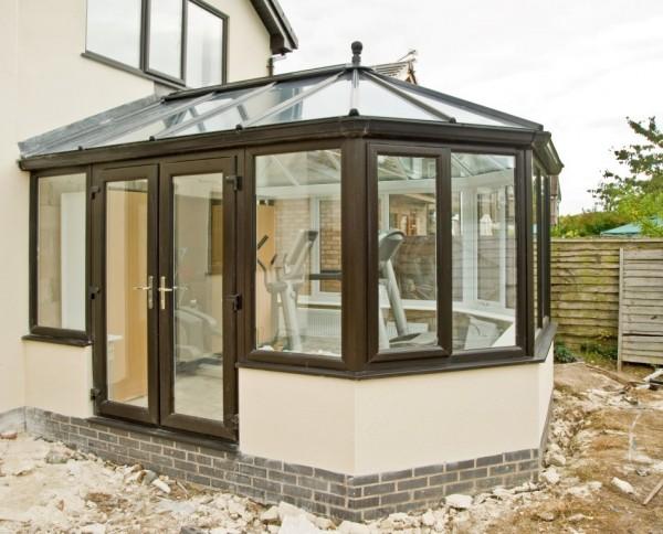 Black UPVC Windows & Glass Roof Victorian