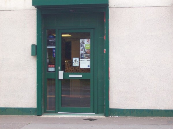 Green Aluminum Shop Door (Preston)